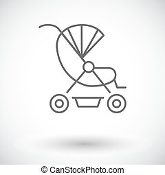Pram icon. Thin line flat vector related icon for web and...