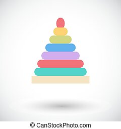 Pyramid toy icon. Flat vector related icon for web and...