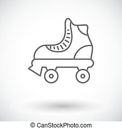Roller skate icon. Thin line flat vector related icon for...