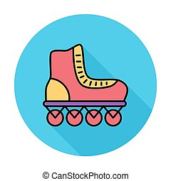 Roller skate icon. Flat vector related icon with long shadow...