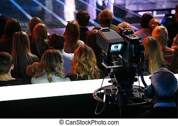 cámara, televisión, exposición
