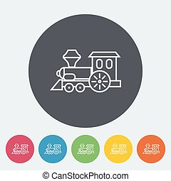 Train toy icon Thin line flat vector related icon for web...