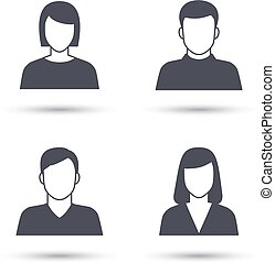 User icons Female and male abstract avatars with shadow