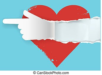 Follow your heart - Red heart with torn paper hand...
