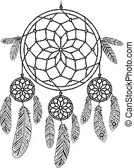 Dreamcatcher on white background. Dream catcher vector icon