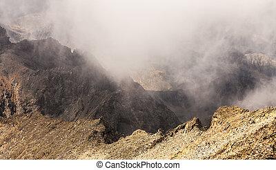 Misty dreamy landscape. Deep misty valley in autumn Turkey