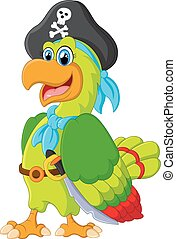 funny parrot with pirate costum - vector illustration of...