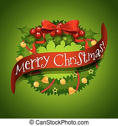 Christmas card with wreaths decorations
