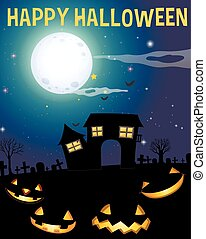 Halloween theme with haunted house and faces illustration