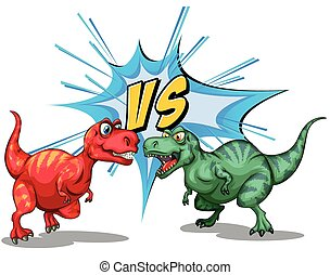 Two dinosaurs fighting each other illustration