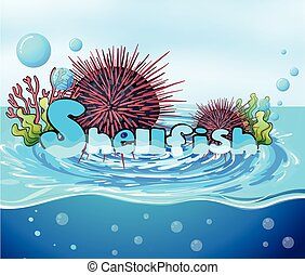 Sea urchin floating on water illustration