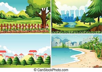 Four nature scene at daytime illustration