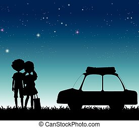 Silhouette couple at night time illustration