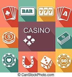 gambling related vector icons Poster. Card and casino, poker game, dice