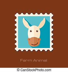 Donkey flat stamp Animal head vector illustration, eps 10