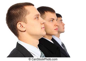 tres, Hombres de negocios, perfil, parodia, Marx, Engels,...