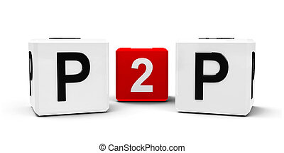 Peer to peer - White and red cubes - peer to peer - isolated...