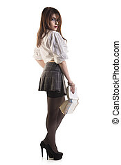 Attractive Young Female Student Holding Book Over White...