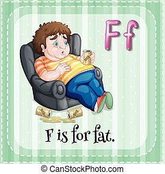 Flashcard letter F is for fat illustration