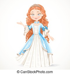 Beautiful young brunette princess in a blue dress and tiara...