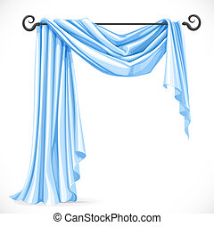 Blue asymmetric curtains on the ledge forged isolated on a white background