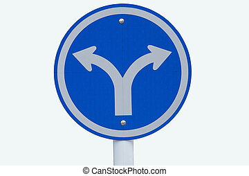 Guide post turn left and turn right on blue background