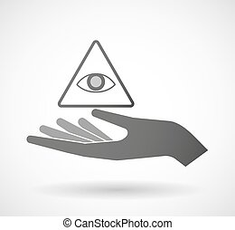 Isolated hand giving an all seeing eye - Illustration of an...