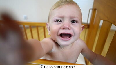Baby Discovering Video Camera - Cute baby crying and...
