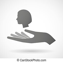 Isolated hand giving a female head