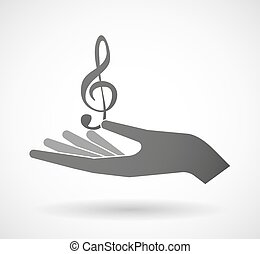 Isolated hand giving a g clef - Illustration of an isolated...