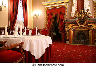 table and fireplace in restaurant
