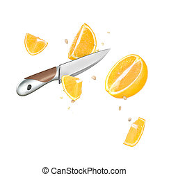 A knife and orange cut in half are frozen in mid air