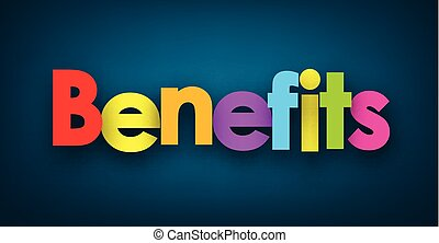 Benefits sign on blue background paper illustration