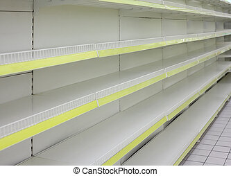 Empty shelves in  shop