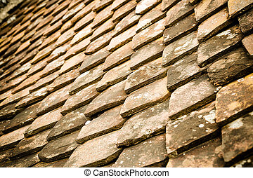 old tiled roof - Closeup of old tiled roof