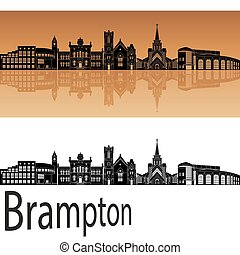 Brampton skyline in orange background in editable vector...