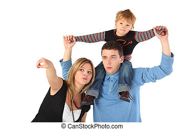 Mother points, father with son on shoulders