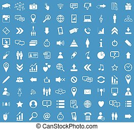 Social media white icon set