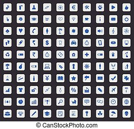 Universal icon set, square - Universal icon set, blue images...