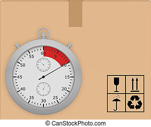 Stopwatch on background of cardboard box with icons transportation