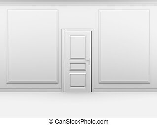 White empty room with the door closed