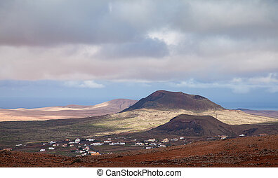 Inland Fuerteventura, Montana de Arena and edge of...
