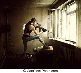 woman sniper and Soldier aiming rifle at window