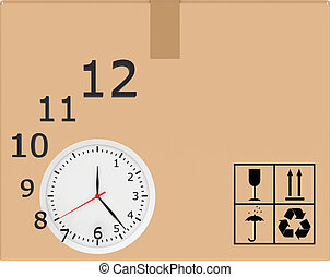 Hours with flying digits on background of carton