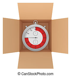 Metal stopwatch with red line inside a cardboard box