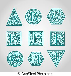Set of Logo designs Artistically Drawn, Stylized, Vintage...