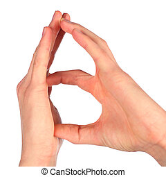 hands represents letter B from alphabet