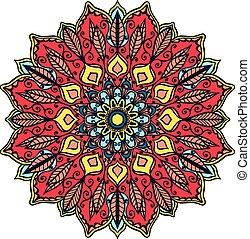 Isolated mandala pattern. Vintage ethnic background frame....