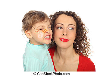 smiling mother and painted child - smiling mother and...