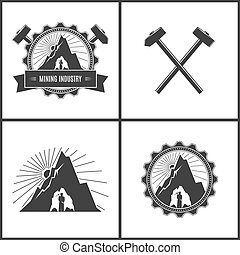 Mining Industry, Label or Badge - Miner in the Helmet with...